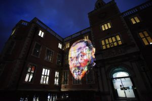 Dated: 11/01/2017 An image of Martin Luther King Jr projected on to Newcastle University's Student Union to mark the start of Freedom City 2017, a year-long city-wide programme of diverse, thought-provoking and inspiring events, exhibitions and performances to commemorate the 50th anniversary of Dr King being given an honorary degree by Newcastle University.** Event website: www.freedomcity2017.com **