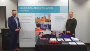 l-r Laurence Pisani, Scott Logic's Head of Testing with its General Manager Nigel Wilson at Government ICT 2017
